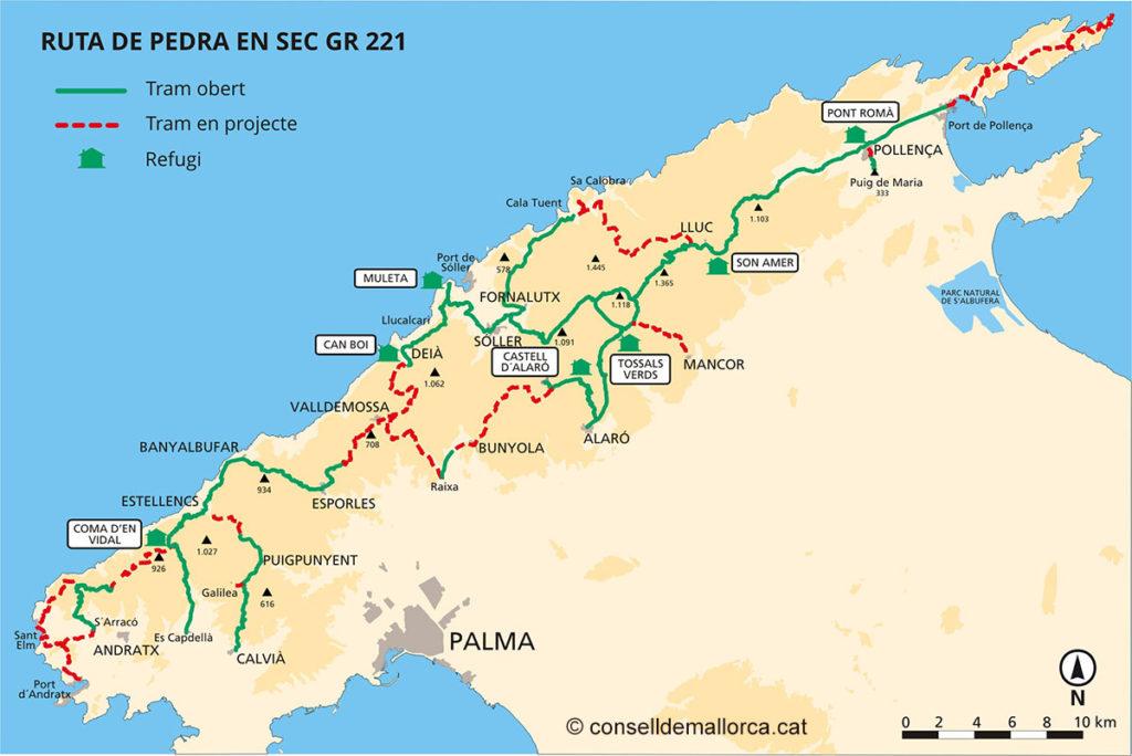 Mapa Sendero GR221 Mallorca Serra de Tramuntana